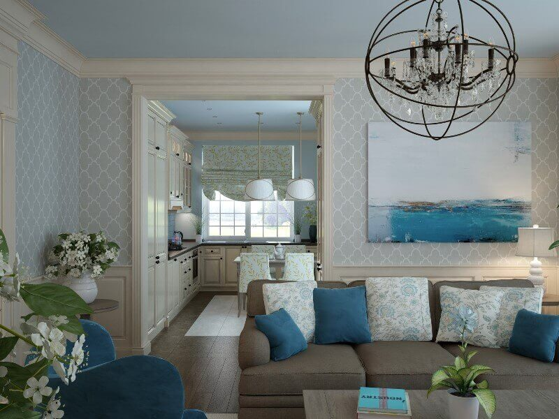Интерьер гостиной, подушки на диване
