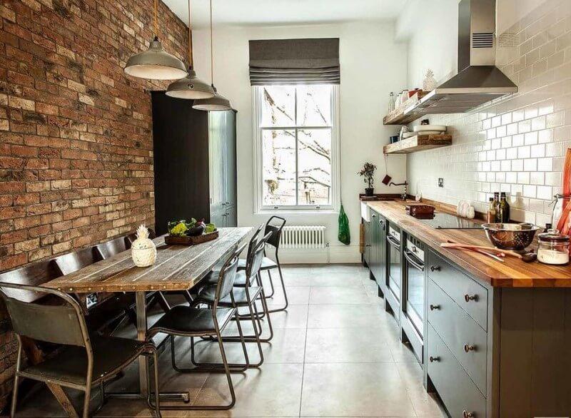 Напольная плитка для кухни в интерьере лофт