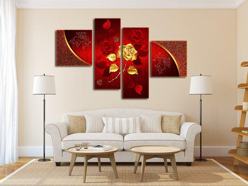 Красная модульная картина