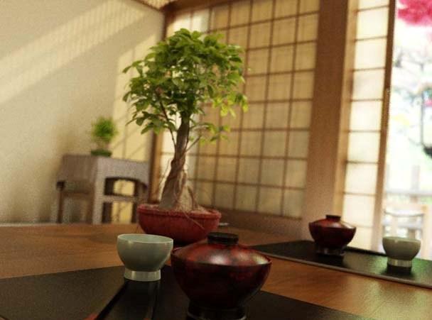 Растения в японском интерьере