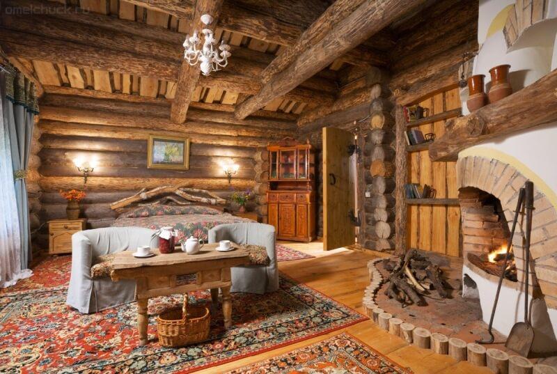 Дизайн интерьера кухни деревянного дома из бруса внутри 178