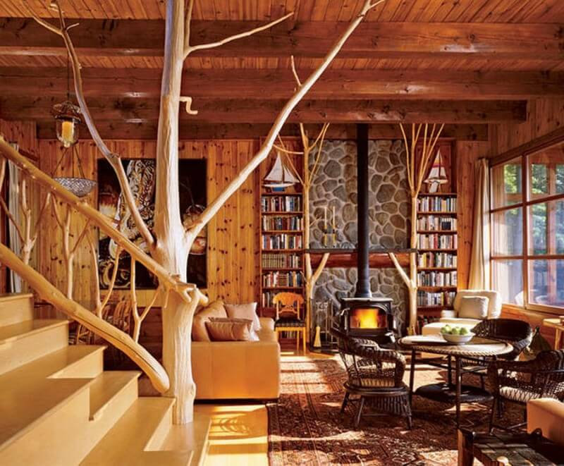 Фото дизайна деревянного дома внутри