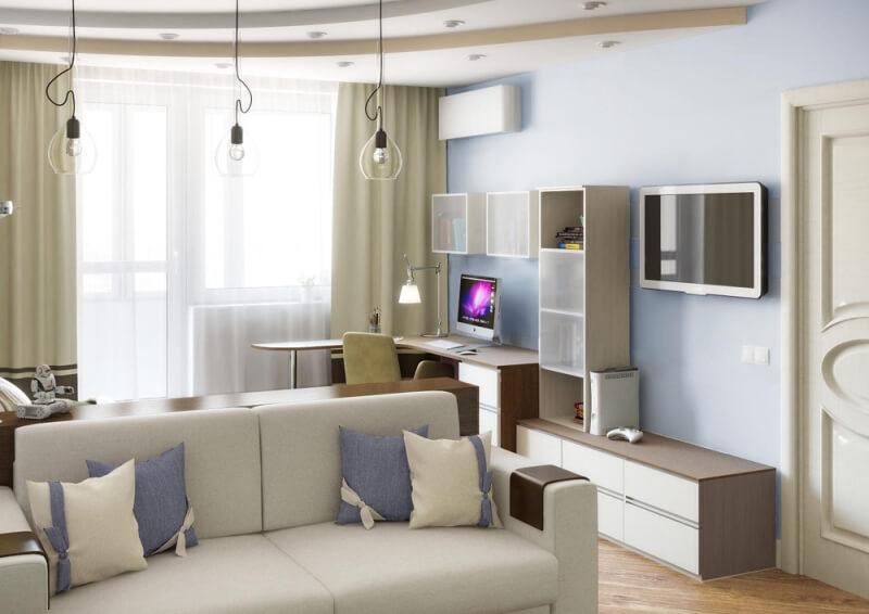 3 в дизайн 1 комн. квартиры