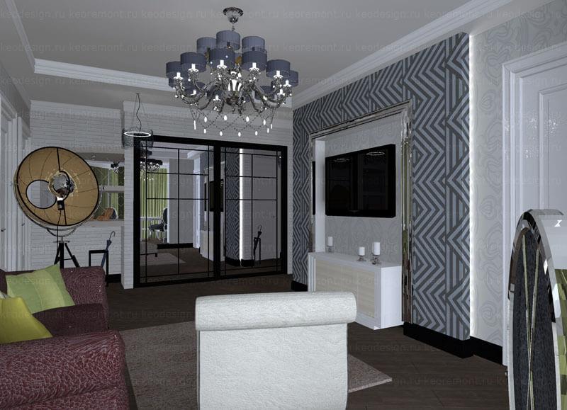 Дизайн трехкомнатной квартиры п44т: большое пространство для.