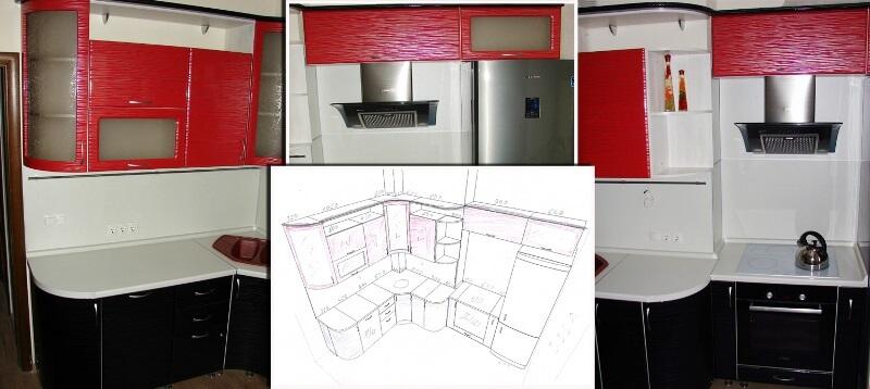 Угловая кухня с коробом в углу дизайн