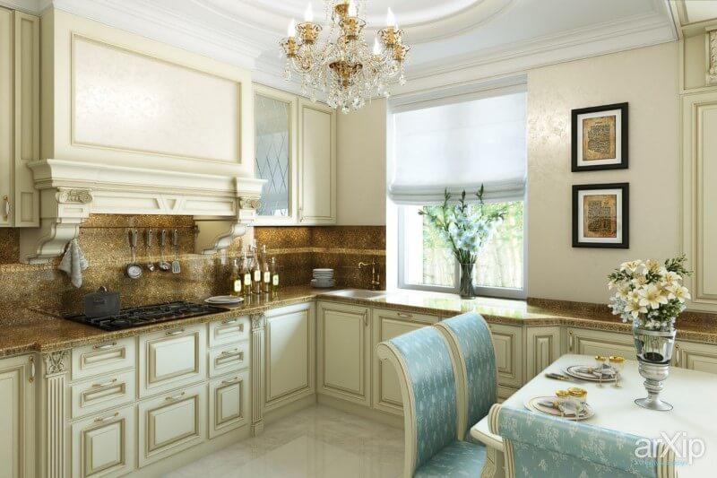 Дизайн кухни в частном доме классика