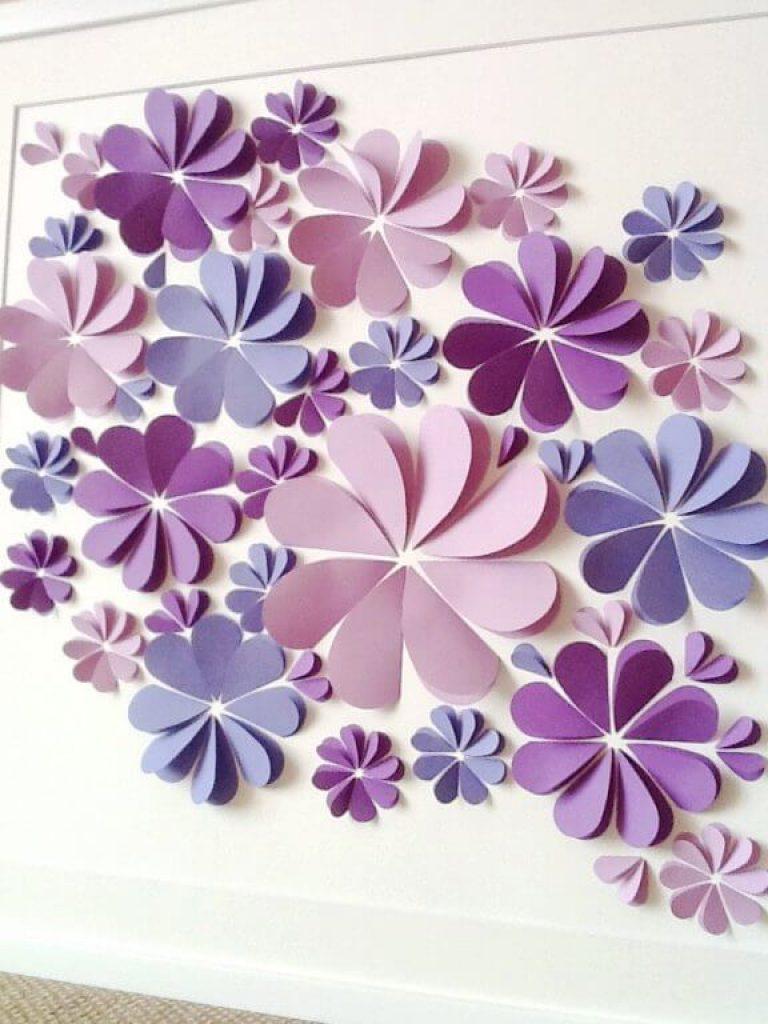Как сделать из бумаги цветок на стену