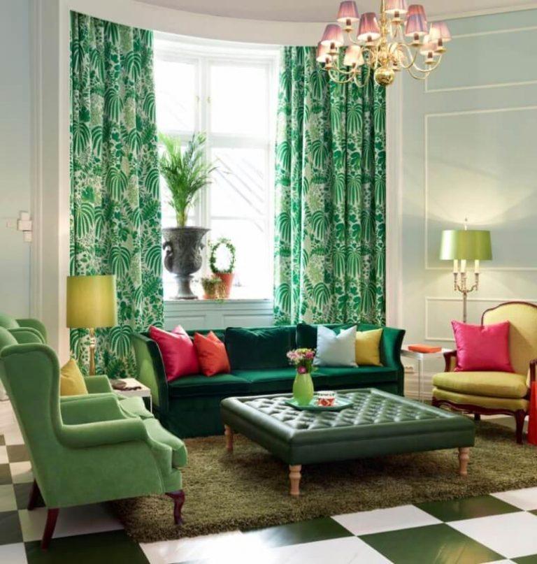 Зеленый цвет в интерьере гостиной фото