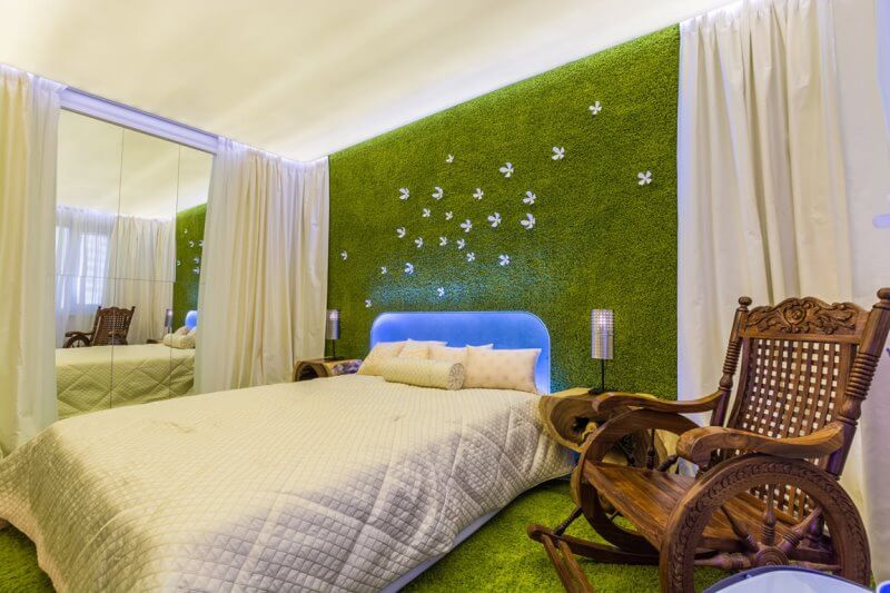 Шторы для зеленой спальни дизайн