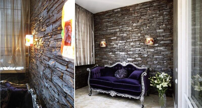 Каменная стена, диван