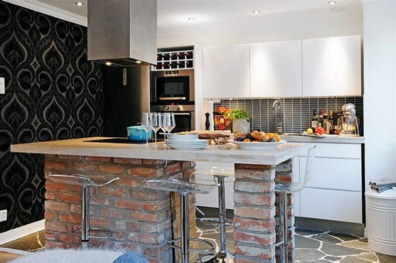Натуральный камень в интерьере кухни