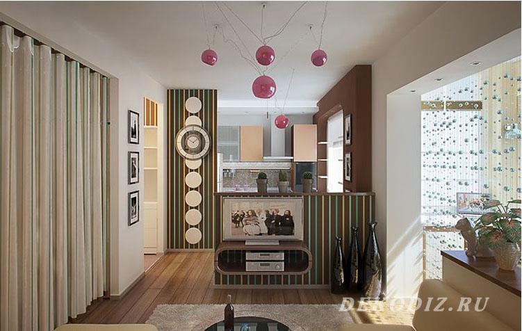 Идея интерьера для однокомнатной квартиры: стиль Диско
