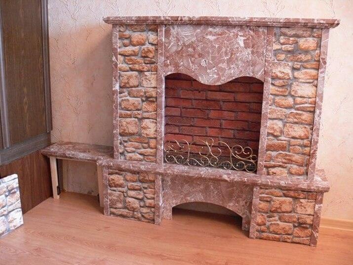 Декоративный камин своими руками из кирпича