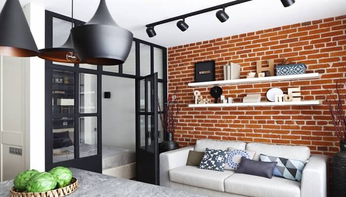 Интерьер гостиной в стиле лофт