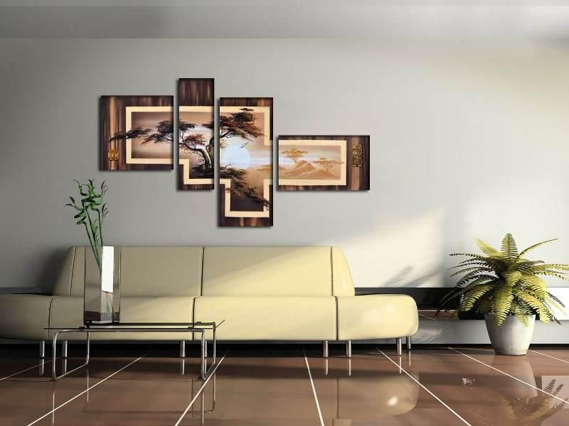 КОричневая модульная картина в гостиную