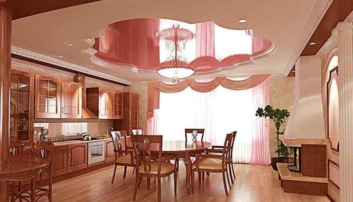 Дизайн потолка на кухне