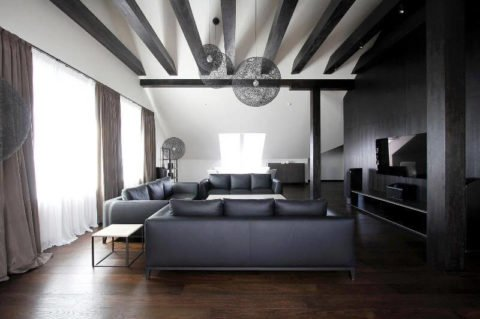Декоративные балки в интерьере. Потолочный интерьер квартиры