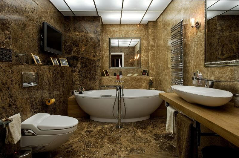 Натуральный камень в интерьере ванной