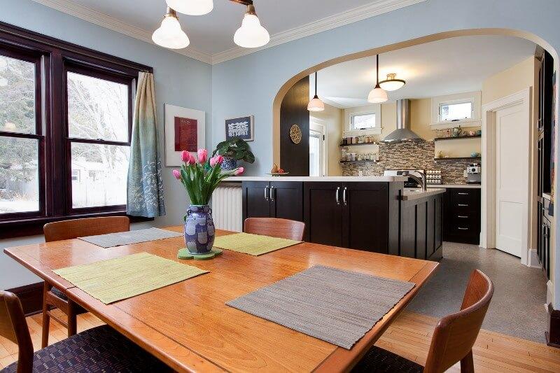 Арка зонирование в кухне