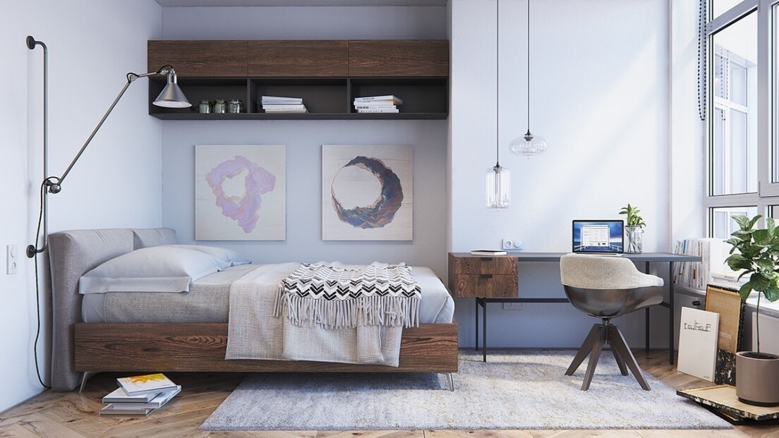 Скандинавский стиль в интерьере спальни