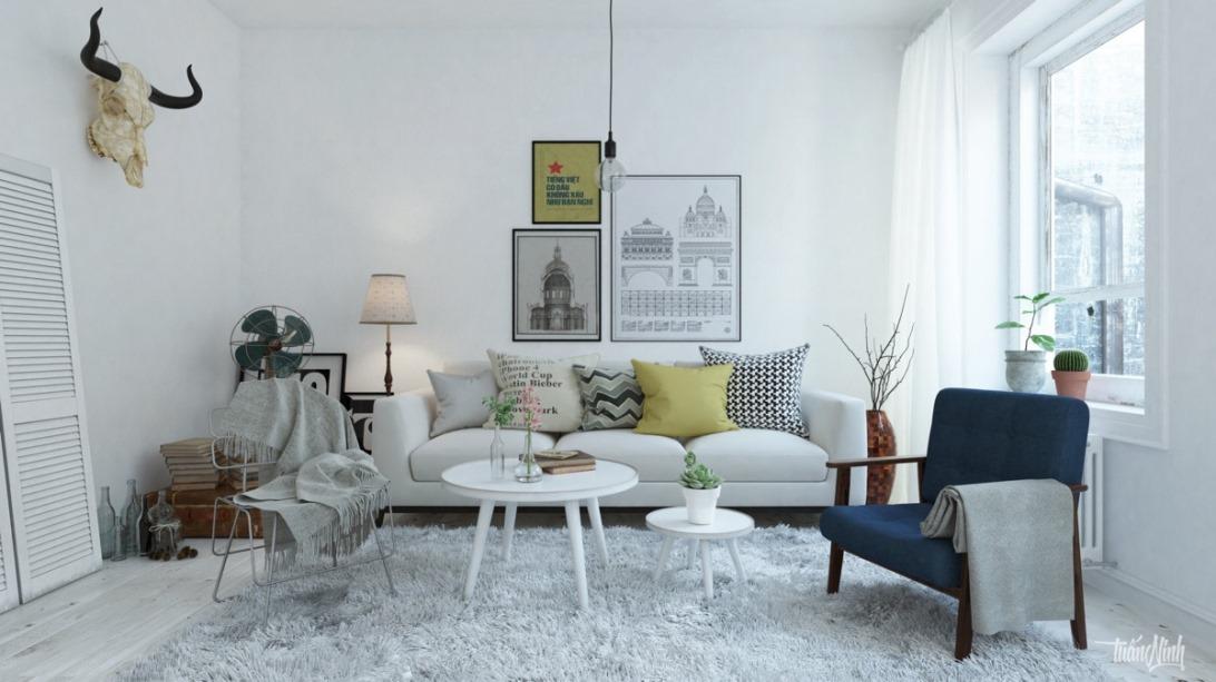 Скандинавский стиль в интерьере гостиной