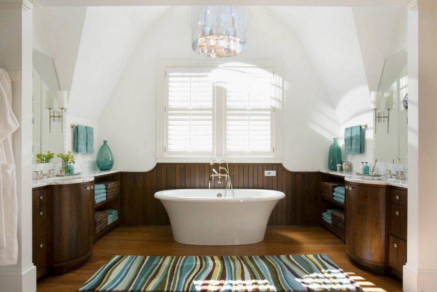 Крашеная вагонка в интерьере ванной