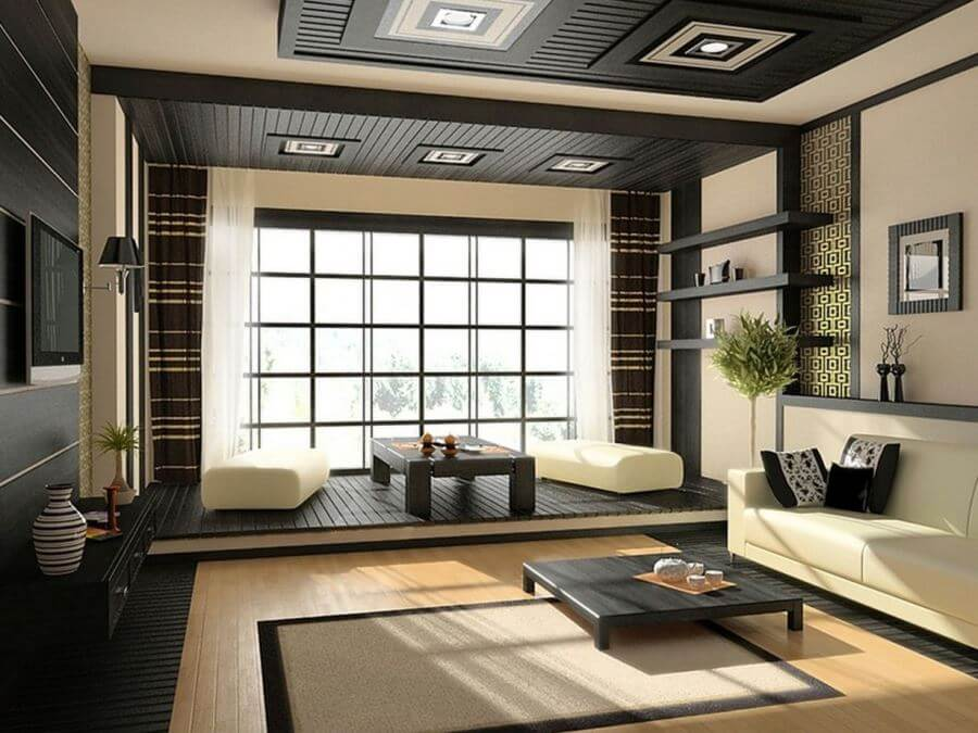 Дизайн гостиной в стиле японский минимализм
