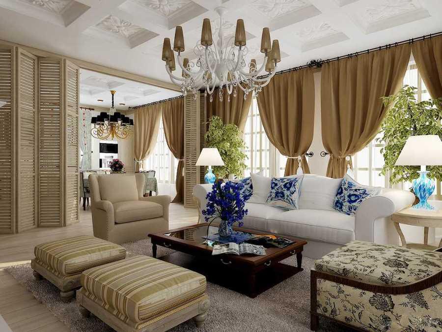 Американский стиль в интерьере гостиной