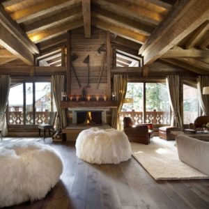 Стиль шале в интерьере гостиной