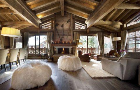 Стиль альпийского шале в интерьере кухни и гостиной