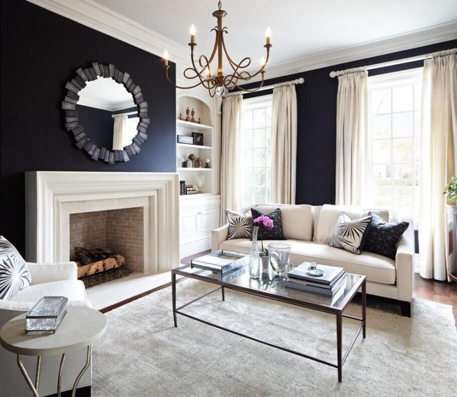 Черные стены в гостиной