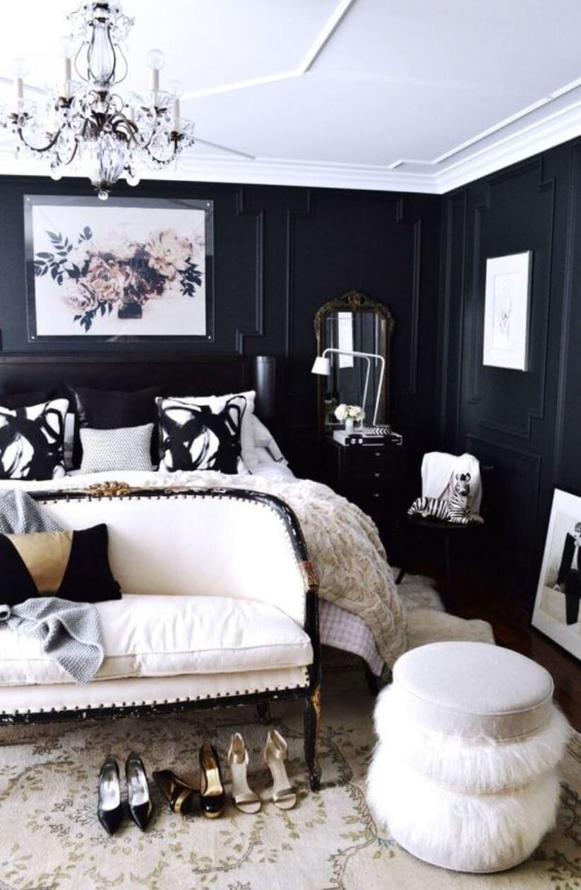 Черные стены в спальне