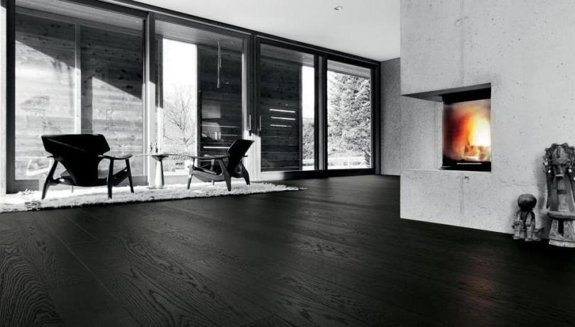 Черный пол в интерьере