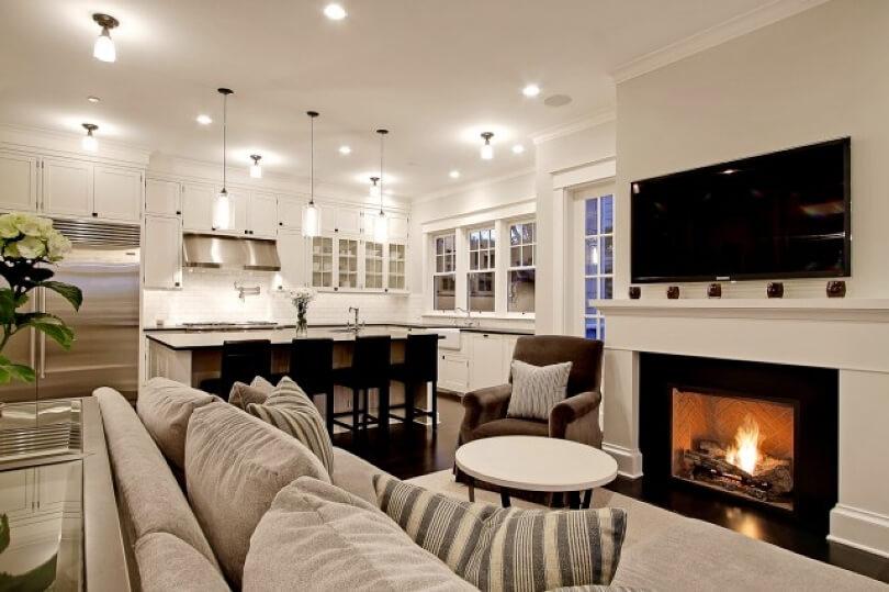 Дизайн угловой кухни гостиной