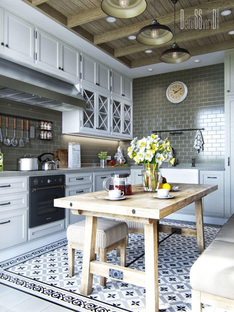 Дизайн угловой кухни прованс