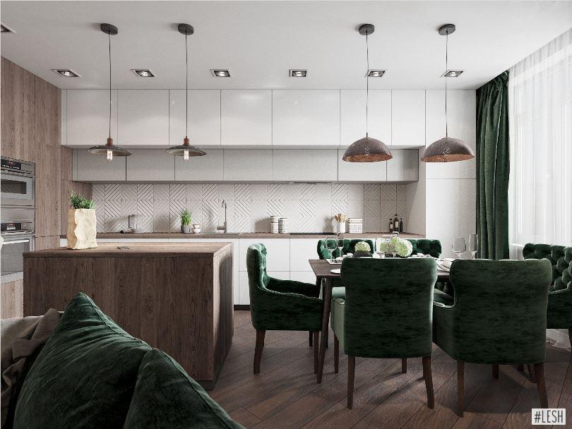 Дизайн угловой кухни гостиной с островом