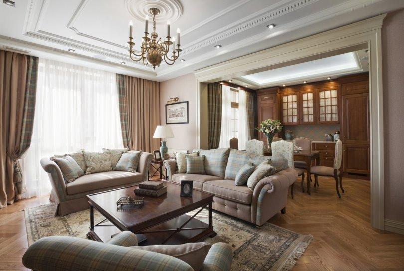 Интерьер гостиной загородного дома