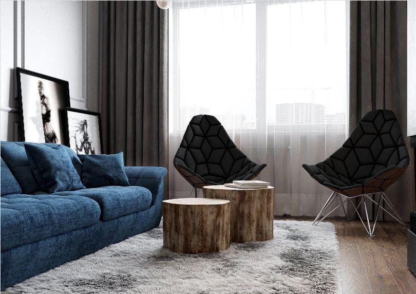 Синий диван в сером интерьере