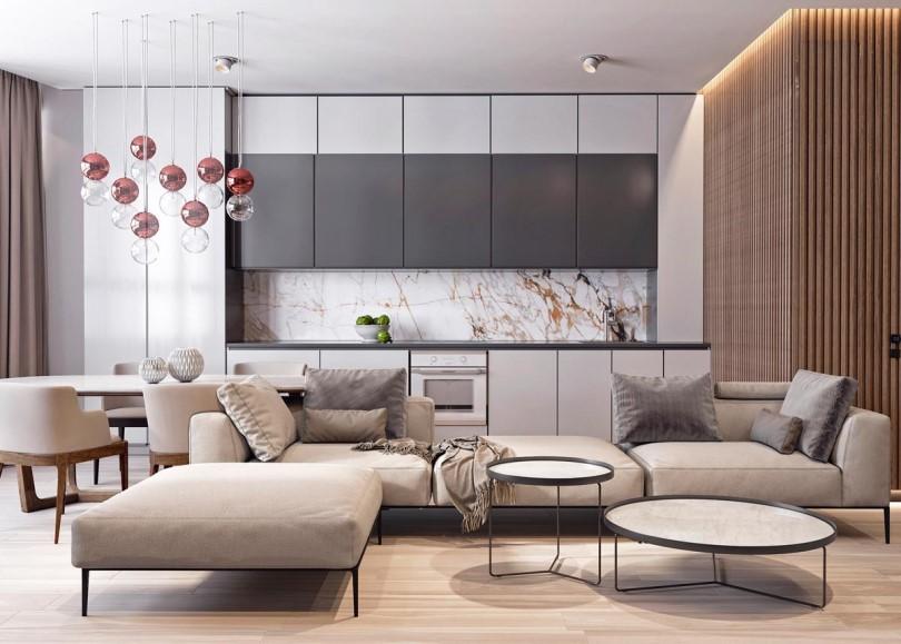 Мрамор в интерьере кухни-гостиной