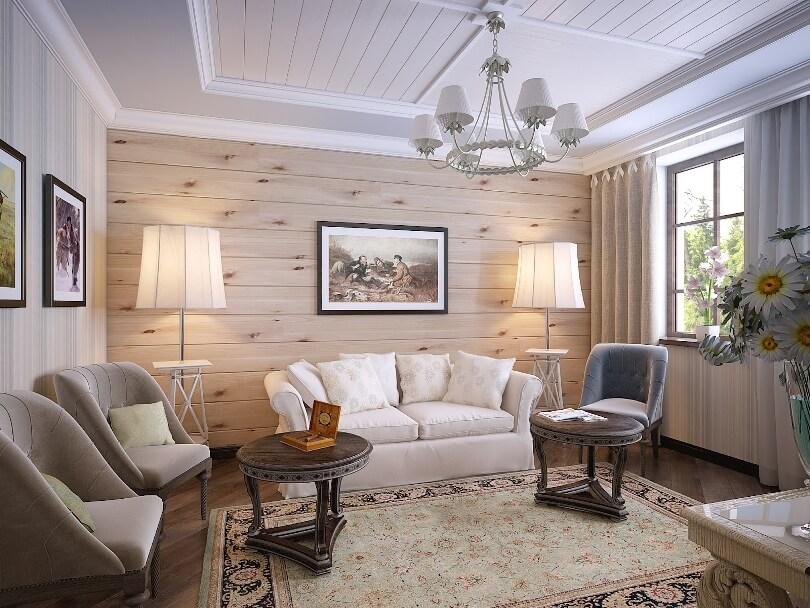 Комбинированная отделка стен в гостиной