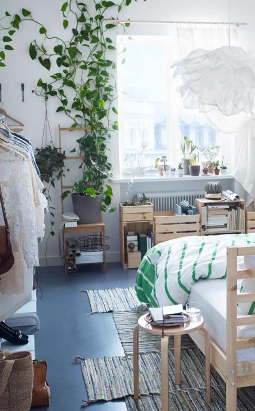 Спальня с комнатными цветами