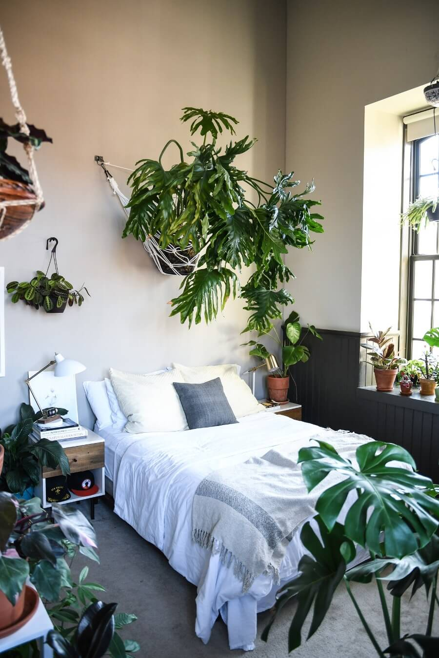 Спальня с растениями