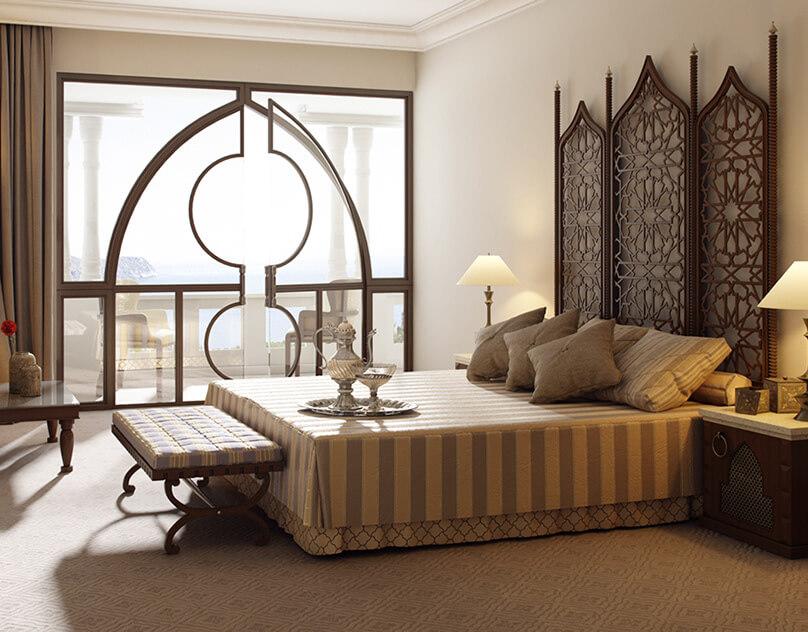 Арабский стиль в европейском интерьере спальни
