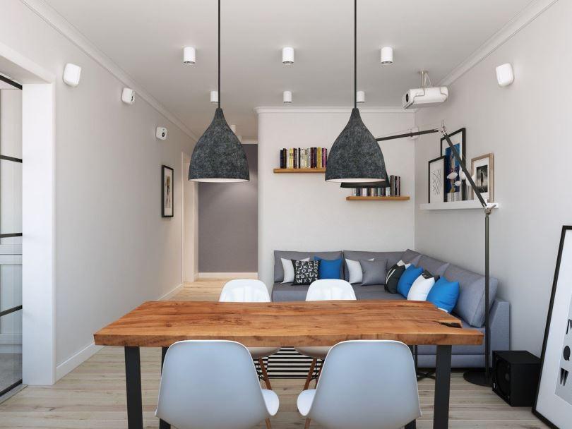 Интерьер гостиной-столовой с подсветкой над обеденной зоной