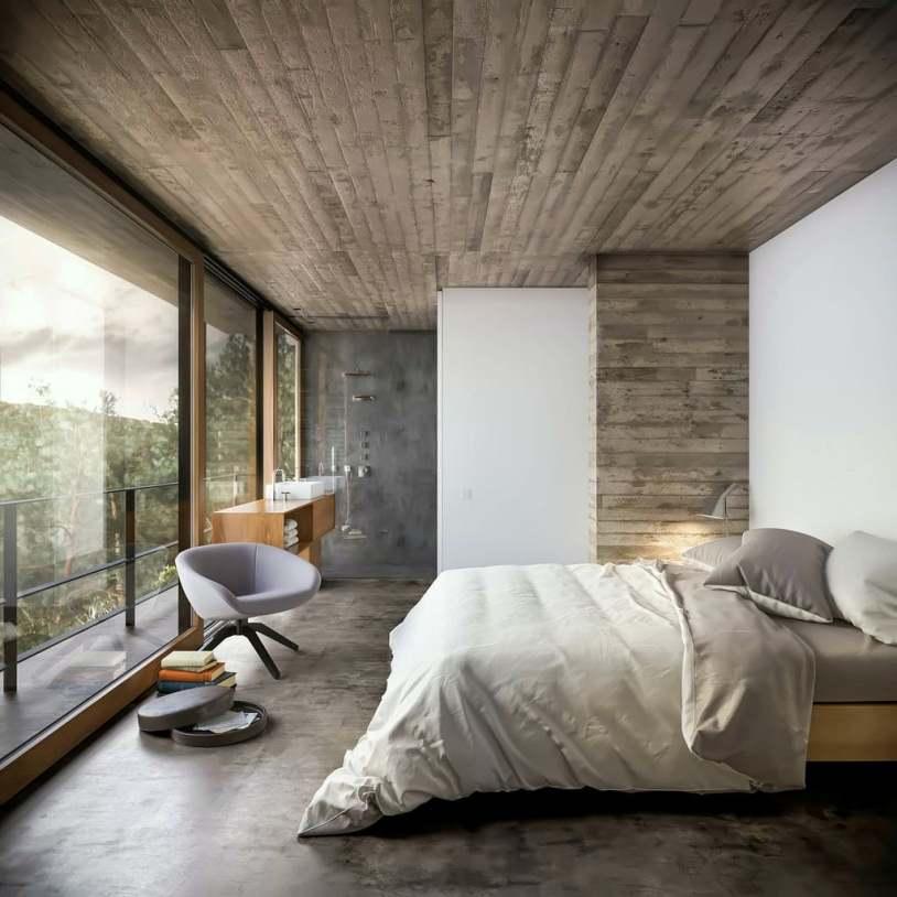 Спальня с панорамными окнами
