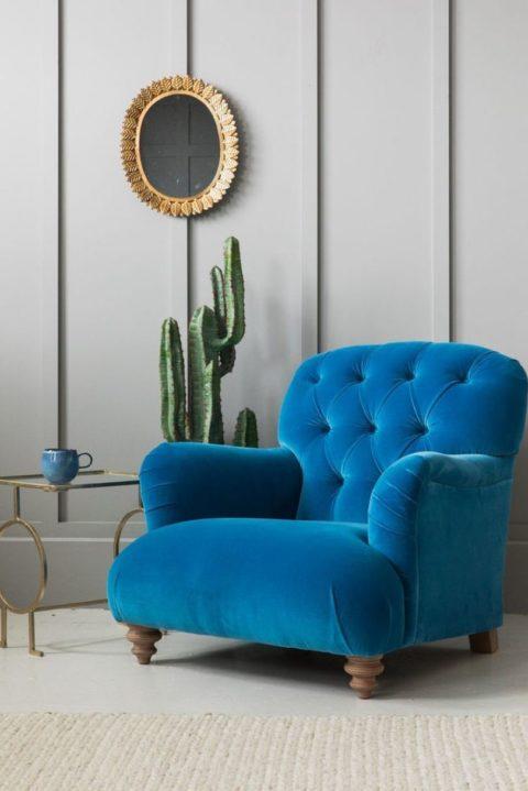 Синее кресло и кактус