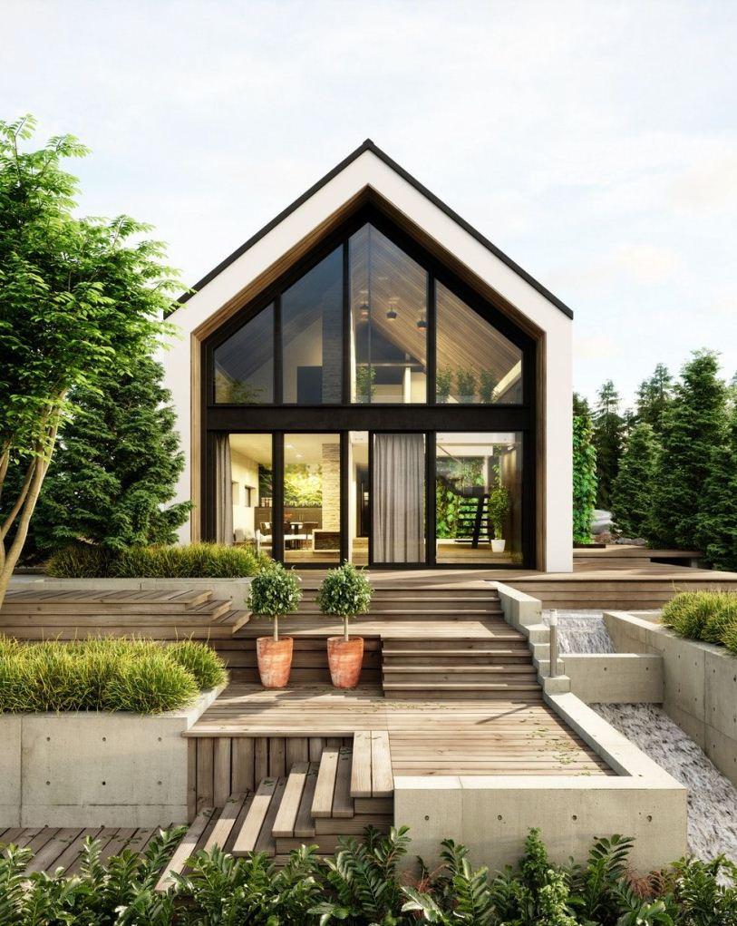 Дом с мансардой из панорамных окон