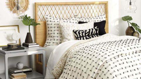 Кровать с плетенным изголовьем
