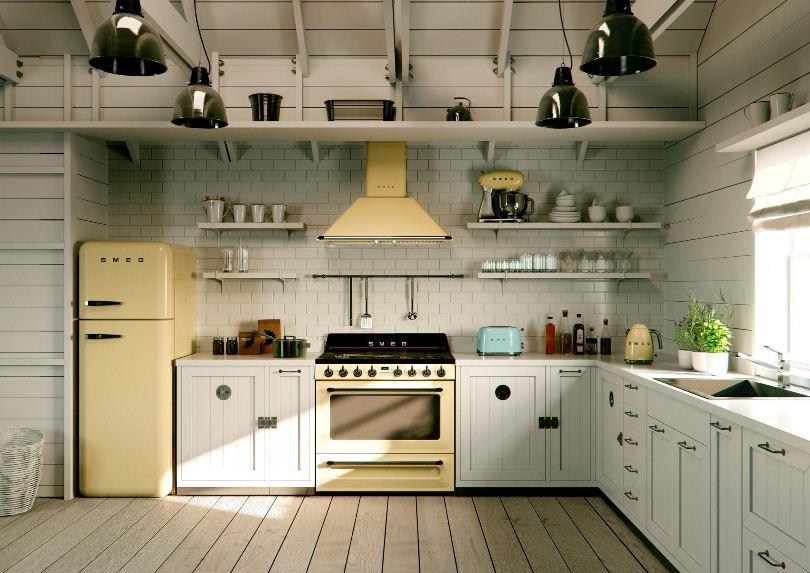 Светло-желтый холодильник