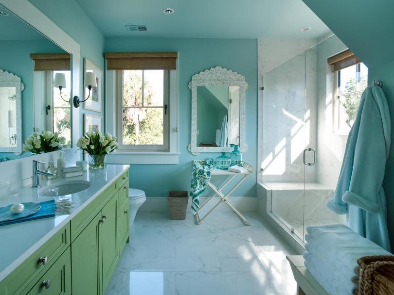 Ванная в зелено-голубых тонах